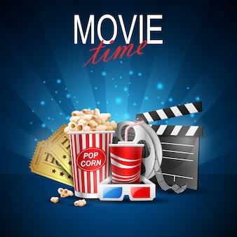 映画時間の背景のベクトル図。