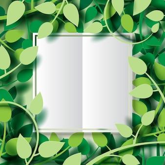 熱帯の緑の葉と白い紙の背景。