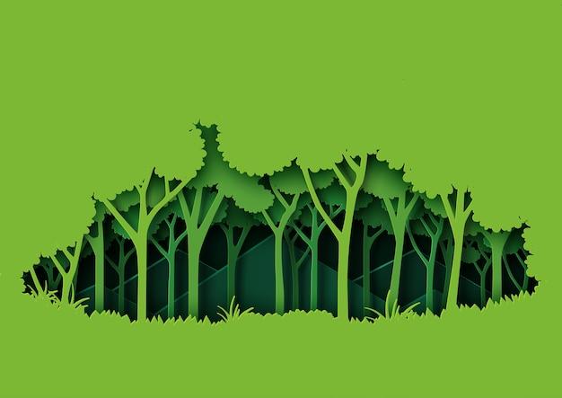 緑の自然の森風景の紙アートスタイル。