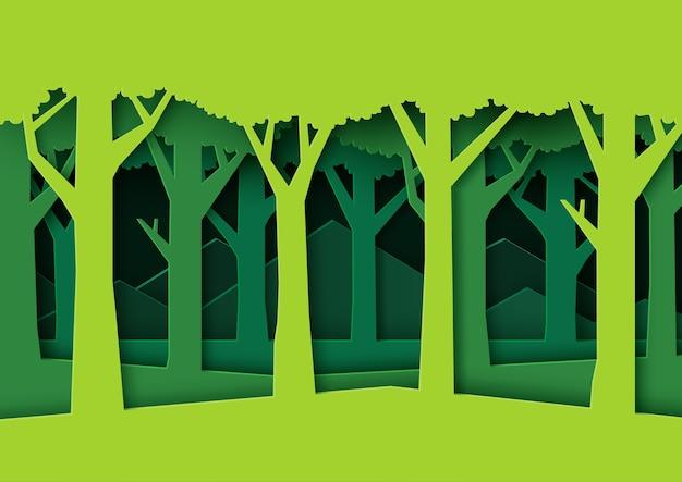 エコ緑の自然の森の背景のテンプレート。