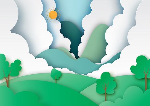 自然景観とエコロジーコンセプトペーパーアートスタイル