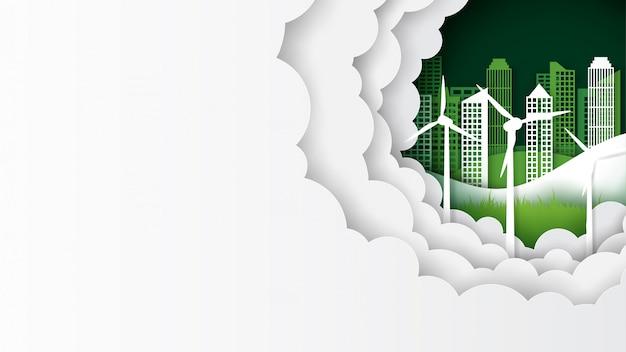 緑のエコ都市景観テンプレートバナー