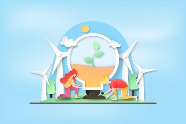 Люди сажают дерево в лампочку и экологически чистой энергии.