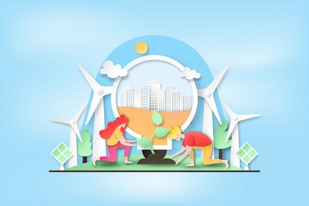 Люди сажают дерево в зеленый город и экономят чистую энергию.