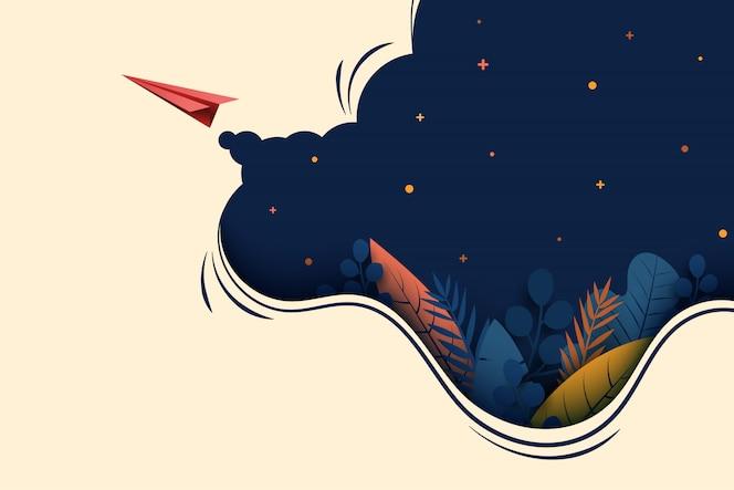 暗い青色の背景に赤い紙飛行機が飛ぶ。