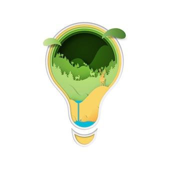 Олени в концепции леса и природы в электрической лампочке.
