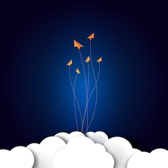 紙飛行機は濃い青で飛ぶ