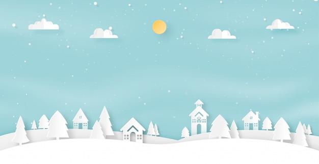 冬の季節の風景とクリスマスの背景のペーパーアート。