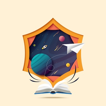 開かれた本のペーパーアートと宇宙への探索。