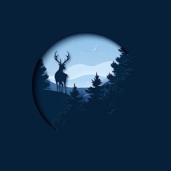 冬の季節の風景とクリスマスのペーパーアート