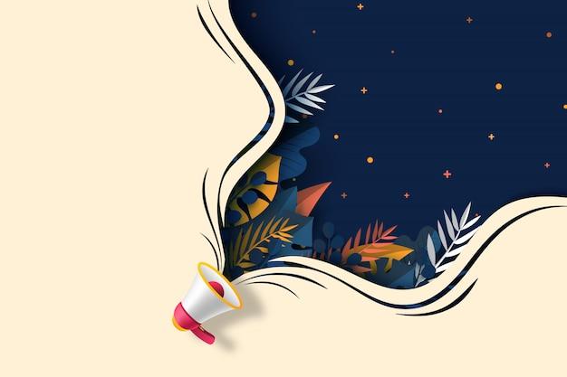 Мегафон с листьями растений и темно-синим пузырем речи