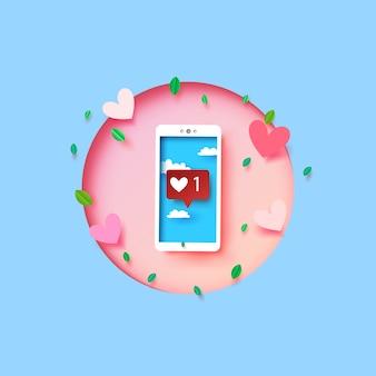 スクリーンに愛と心の絵文字のメッセージを持つスマートフォン。