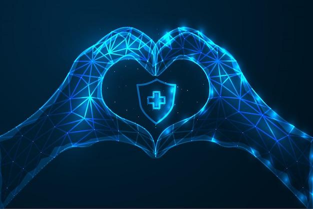 生命保護の概念は、人間の生命のイラスト-ハート記号とセキュリティ保護の手つきのデザインを保護しました。