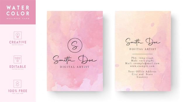 Розовая акварель шаблон визитной карточки