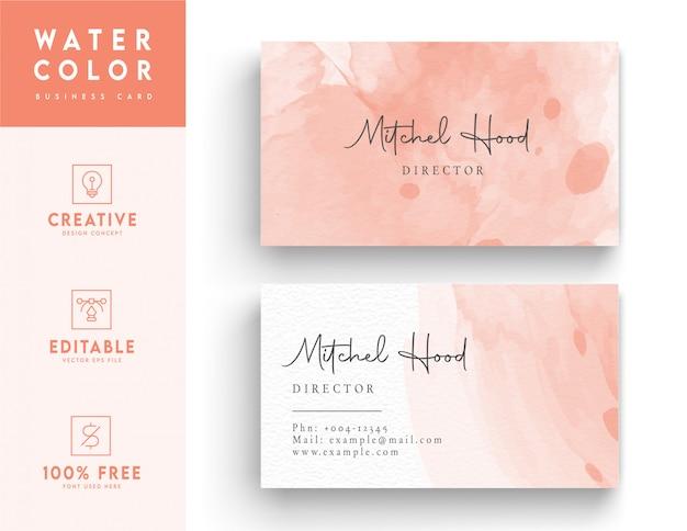Акварель визитная карточка в розовом цвете