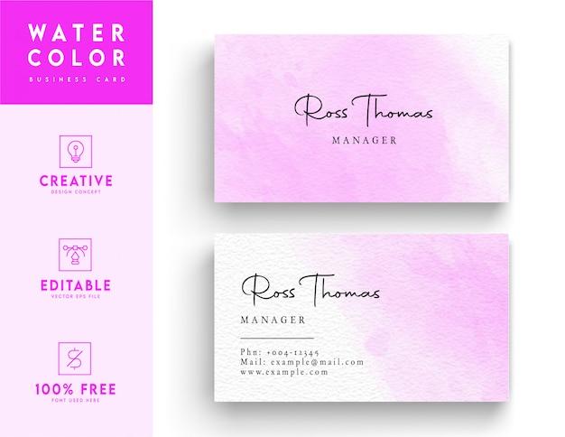 Шаблон визитной карточки необычного типа, акварель - визитная карточка розового цвета