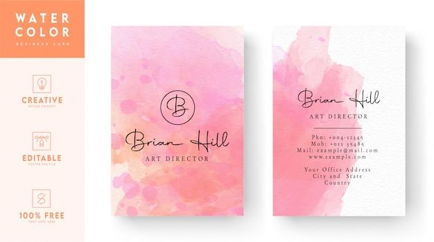 Акварельная визитная карточка - розовая художественная визитная карточка
