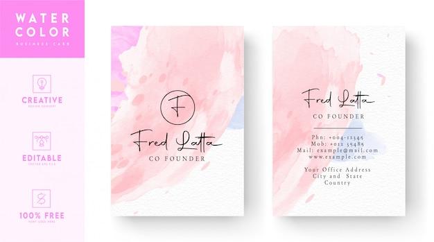 Розовый и белый абстрактный шаблон визитной карточки - акварель визитная карточка