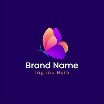 蝶のグラデーションカラーのロゴのテンプレート-モダンな蝶のロゴ