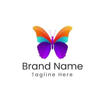 カラフルな蝶のロゴ-モダンなグラデーションの蝶のロゴマーク