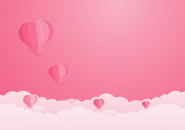 День святого валентина фон с сердцем шары и облака.
