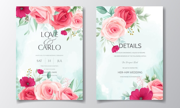 Красивый цветочный венок шаблон свадебного приглашения