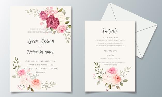花のフレームで設定された美しく、エレガントな結婚式の招待カードテンプレート