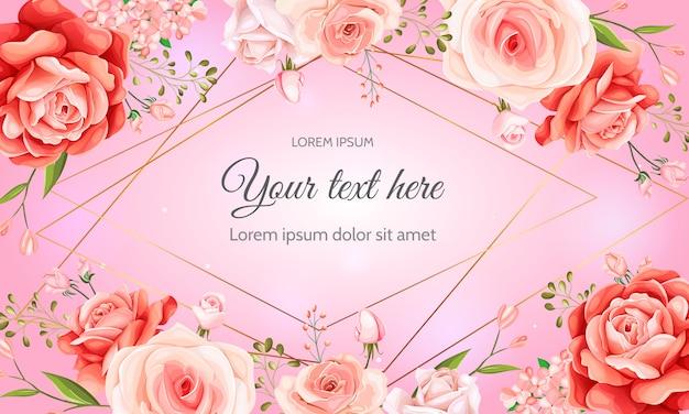 美しい春の花の紙テンプレート