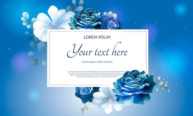 Красивый темно-синий цветочный бумажный шаблон