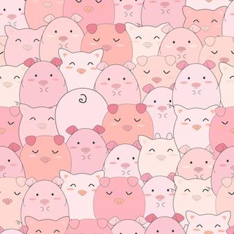 Бесшовные модели милые свиньи