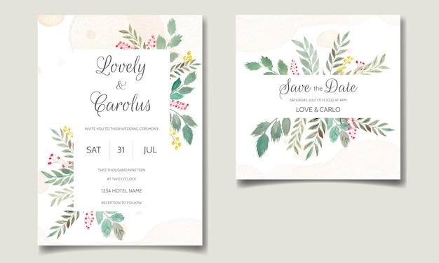 Свадебный пригласительный набор шаблонов с цветочным и оставляет акварель