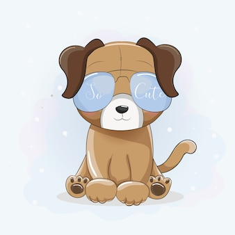 太陽の眼鏡でかわいい漫画のクールな子犬