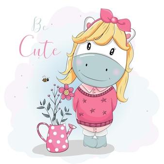 ピンクのセーターのかわいい漫画ポニー