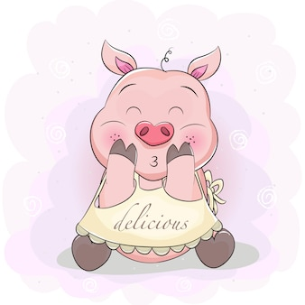 エプロンとかわいい漫画豚