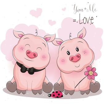 Милая свинья пара с цветком