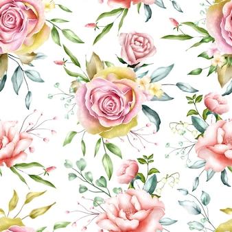 シームレスパターンの水彩画の花