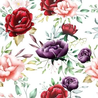 水彩花柄の葉のシームレスパターン