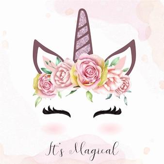 水彩画の花の冠とかわいいユニコーンヘッド