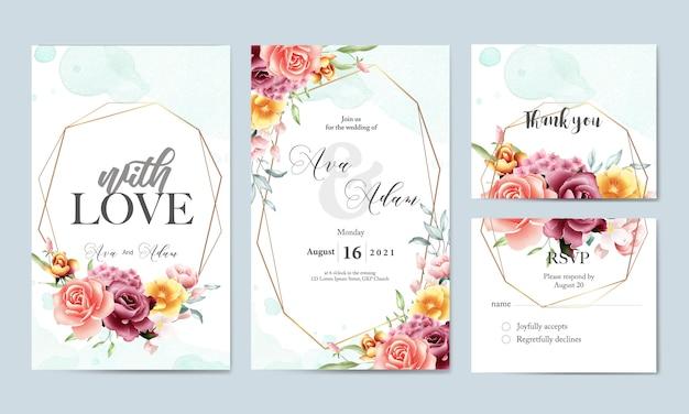 花の水彩画の結婚式の招待状のテンプレートセット