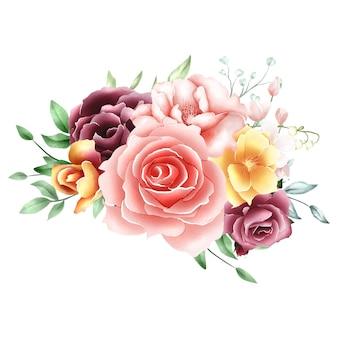 水彩画のバラの花束の背景