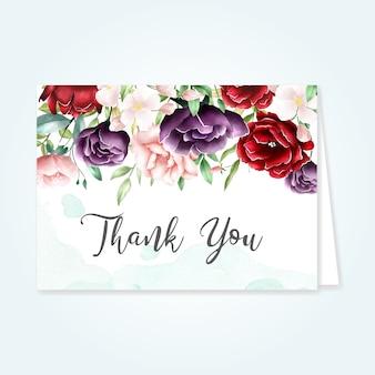 ありがとうメッセージと美しい花カード