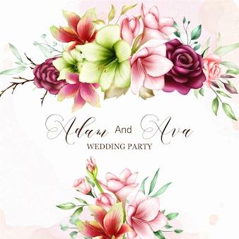 水彩のアマリリスとバラの花の結婚式の招待状のテンプレート