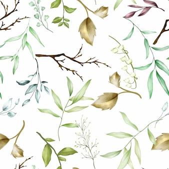シームレスパターン水彩画葉