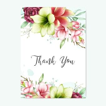 水彩のアマリリスとバラの花のグリーティングカードありがとう