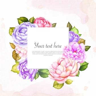テキストテンプレートと多目的カードの水彩画の花のフレーム