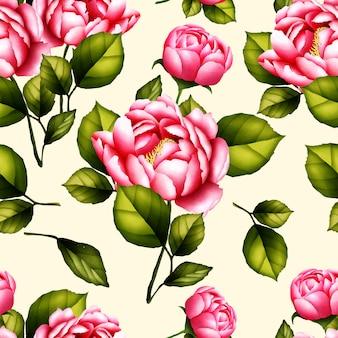 Бесшовный фон акварель пион цветок
