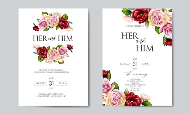 Красивый цветок свадебный шаблон карты