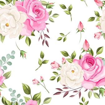 美しいシームレスパターンの花と葉