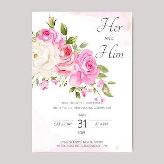 Красивый шаблон свадебного приглашения с цветочными листьями