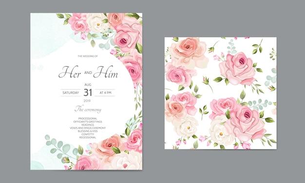 美しいシームレスパターン花葉入り結婚式招待状カードのテンプレート